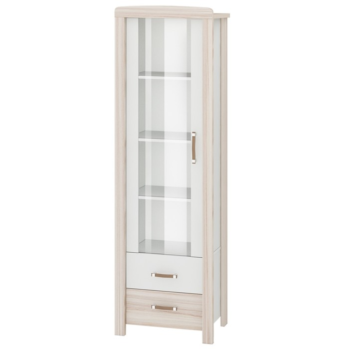 Витрина со стеклянным фасадом, 600 × 360 × 1910 мм, цвет карамель / белый