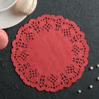 """Салфетка для торта и десерта 14 см """"Ажурный круг"""", цвет красный"""