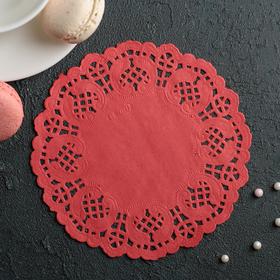 Салфетка для торта и десерта 14 см 'Ажурный круг', цвет красный Ош