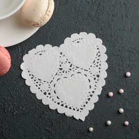 Салфетка для торта и десерта 10×10 см 'Ажурное сердце', цвет белый Ош