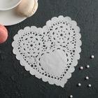"""Салфетка для торта и десерта 14×14 см """"Ажурное сердце"""", цвет белый"""