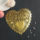 """Салфетка для торта и десерта 14×14 см """"Ажурное сердце"""", цвет золото"""