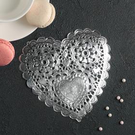 Салфетка для торта и десерта 14×14 см 'Ажурное сердце', цвет серебро Ош