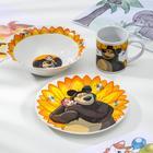 """Набор посуды детский """"Маша и Медведь. Подсолнух"""", 3 предмета: кружка 240 мл, миска 18 см, тарелка 19 см"""