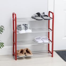 Полка для обуви, 4 яруса, 50×19×60 см, цвет красный Ош