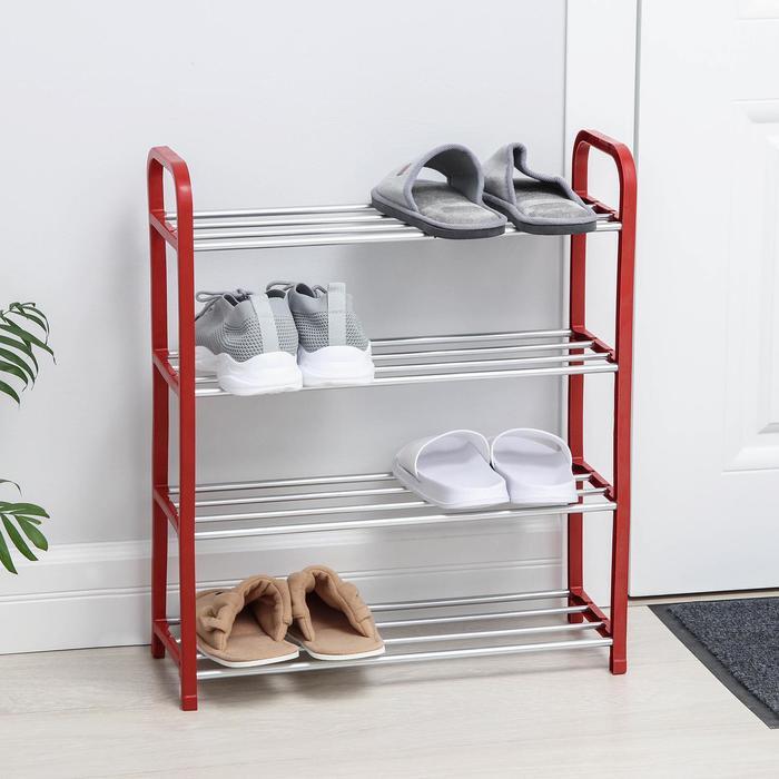 Полка для обуви Доляна, 4 яруса, 50×19×60 см, цвет красный