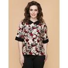 Блузка женская «Флора», размер 46, цвет чёрный, молочный, бордовый