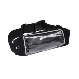 Спортивная сумка чехол на пояс LuazON, управление телефоном, отсек на молнии, чёрная