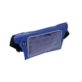 Спортивная сумка чехол на пояс LuazON, управление телефоном, отсек на молнии, синяя