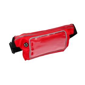 Спортивная сумка чехол на пояс LuazON, управление телефоном, отсек на молнии, красная
