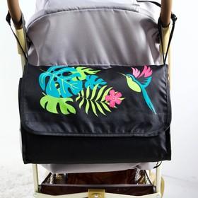 Сумка-органайзер для коляски и санок 'Тропики', цвет чёрный Ош