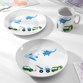 Набор посуды Baby car, 3 предмета: кружка 300 мл, тарелка, глубокая тарелка