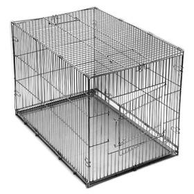 Клетка-переноска 'Хантер' №2, с металлическим поддоном, хром, складная, 60 х 40 х 42 см Ош