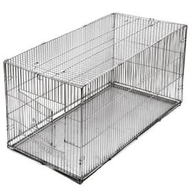 Клетка-переноска 'Хантер' №3, с металлическим поддоном, хром, складная, 80 х 40 х 42 см Ош