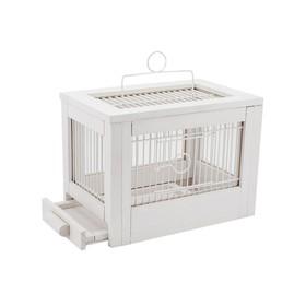 Клетка для птиц из массива дерева 'Летняя веранда-3', укомплектованная, 47,5х27х32 см, белая Ош