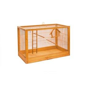 Клетка для птиц из массива дерева 'Летняя веранда-2' без наполнения, 31 х 23,5 х 25см, клён Ош