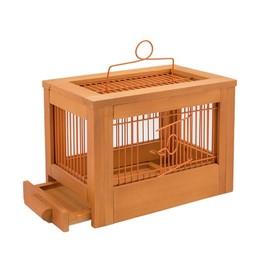 Клетка для птиц из массива дерева 'Летняя веранда-3', укомплектованная, 47,5х27х32 см, клён   450104 Ош