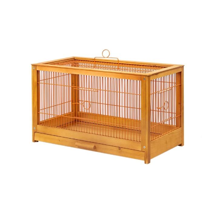 Клетка для птиц из массива дерева Летняя веранда-4, укомплектованная, 56 х 30 х 35см, клён   45010