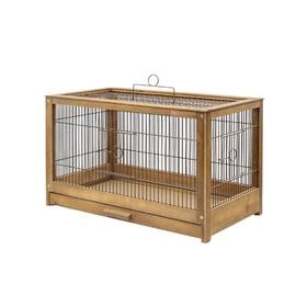Клетка для птиц из массива 'Летняя веранда-4', укомплектованная, 56 х 30 х 35 см, палисандр   450105 Ош