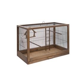 Клетка для птиц из массива 'Летняя веранда-5', укомплектованная, 71 х 33,5 х 51см, палисандр Ош