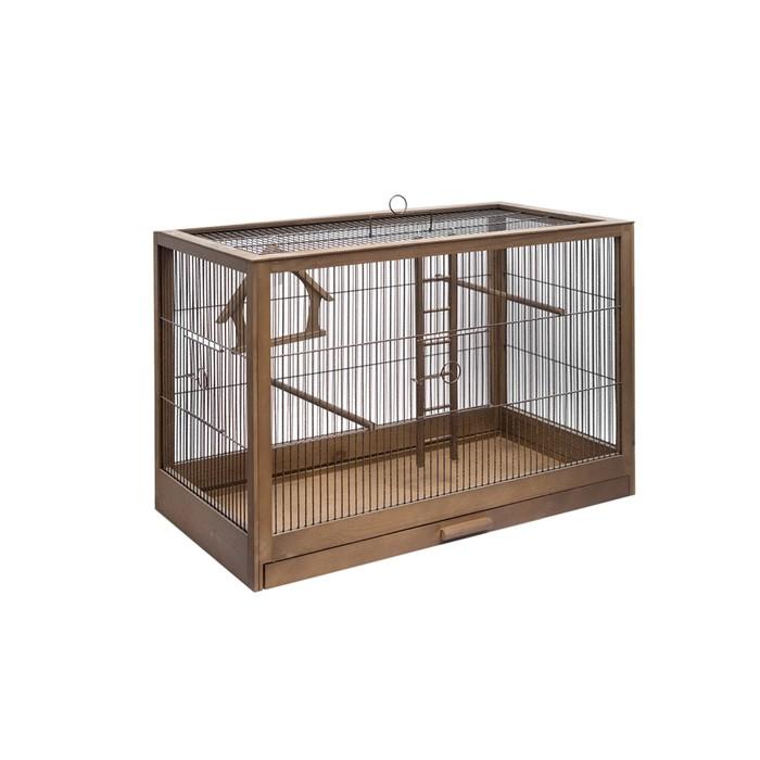 Клетка для птиц из массива Летняя веранда-5, укомплектованная, 71 х 33,5 х 51см, палисандр
