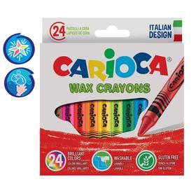 """Мелки восковые 24 цвета Carioca """"Wax Crayons"""" 95 мм, диаметр 8 мм, круглые, в картонной коробке"""