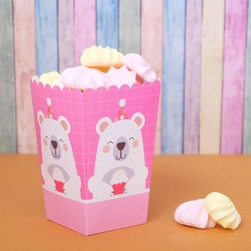 Снек-бокс «Мишка с кексом», набор 6 шт., цвет розовый Ош