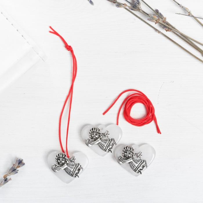 Набор талисманов на крас.нити Ангел на сердце 3 шт., белый, серебро, 2,5 х 2 см