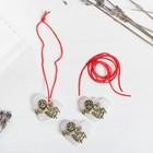Набор талисманов на крас.нити «Ангел на сердце» 3 шт., белый, золото, 2,5 х 2 см