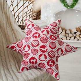 Подушка декоративная звезда «Шары новогодние» 50х50 см, цвет красный