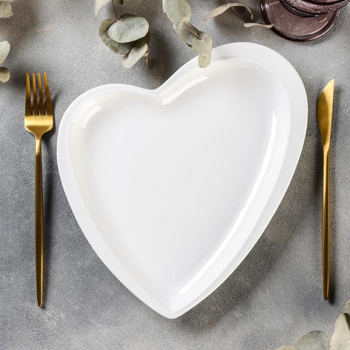 Блюдо Magistro «Сердце», 24×27×3 см, цвет белый