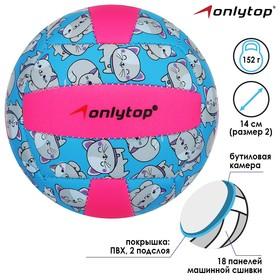Мяч волейбольный ONLITOP «Кошечка», размер 2, 150 г, 2 подслоя, 18 панелей, PVC, бутиловая камера Ош