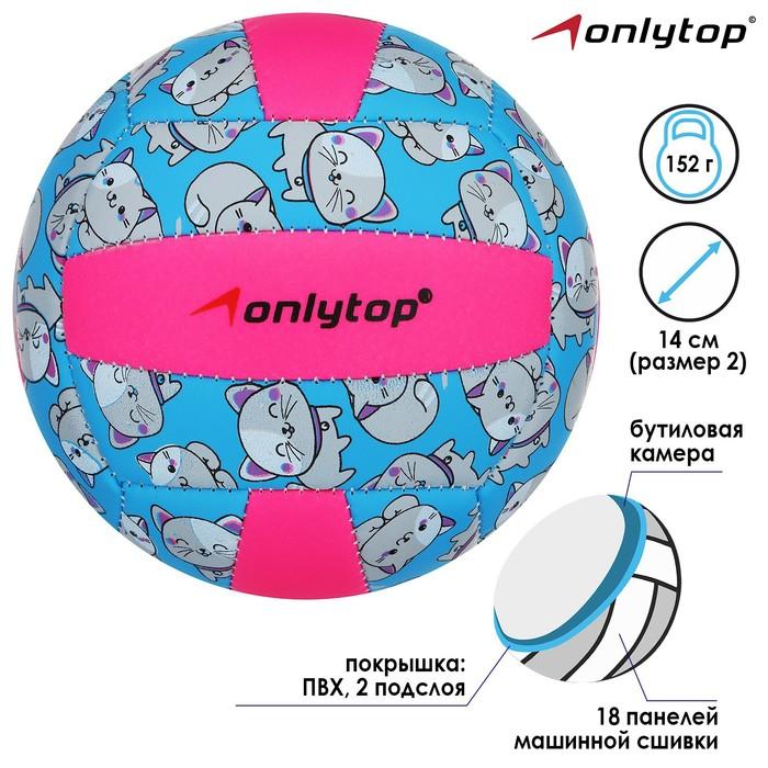 Мяч волейбольный ONLITOP Кошечка, размер 2, 150 г, 2 подслоя, 18 панелей, PVC, бутиловая камера