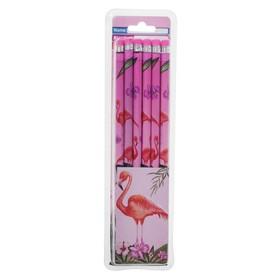 Карандаш чернографитный с ластиком НВ Фламинго