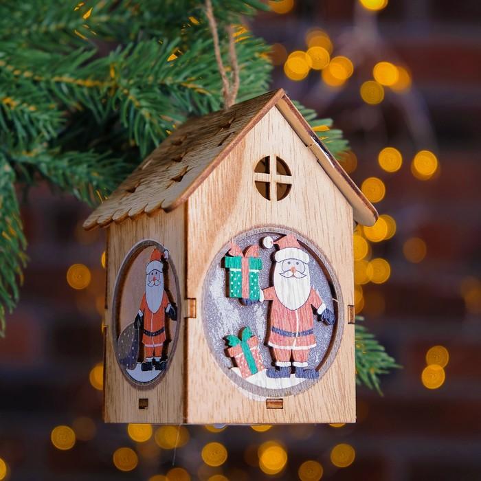 """Декор с подсветкой """"Дед мороз с подарками"""" 7×8×11 см"""