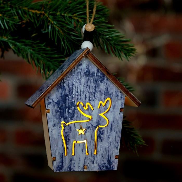 """Декор с подсветкой """"Олень в домике"""" 6×9×10 см"""