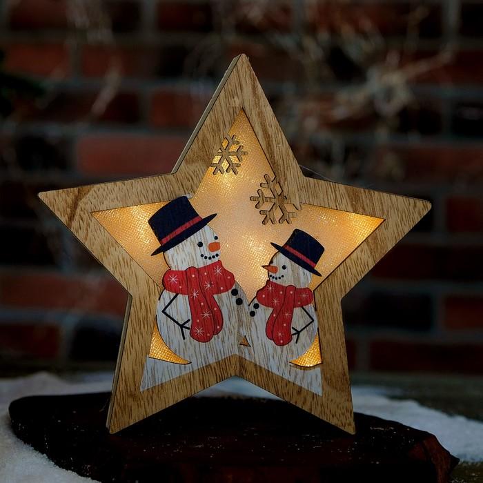 "Декор с подсветкой ""Снеговики"" 2,3×19,7×19,7 см"