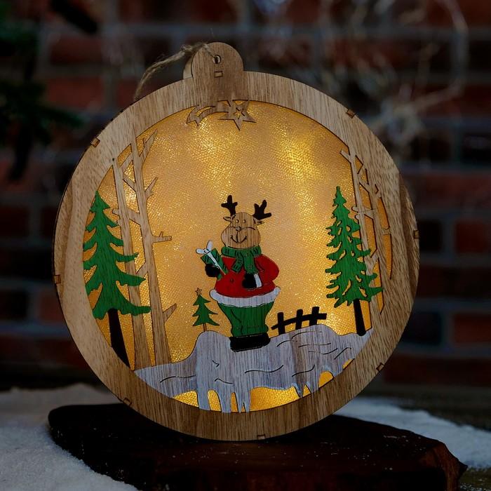 """Декор с подсветкой """"Олень с подарком"""" 3,5×19,5×21,5 см"""