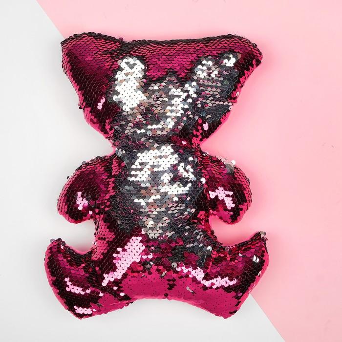 Мягкая игрушка Медведь, пайетки, цвет серебряно-малиновый