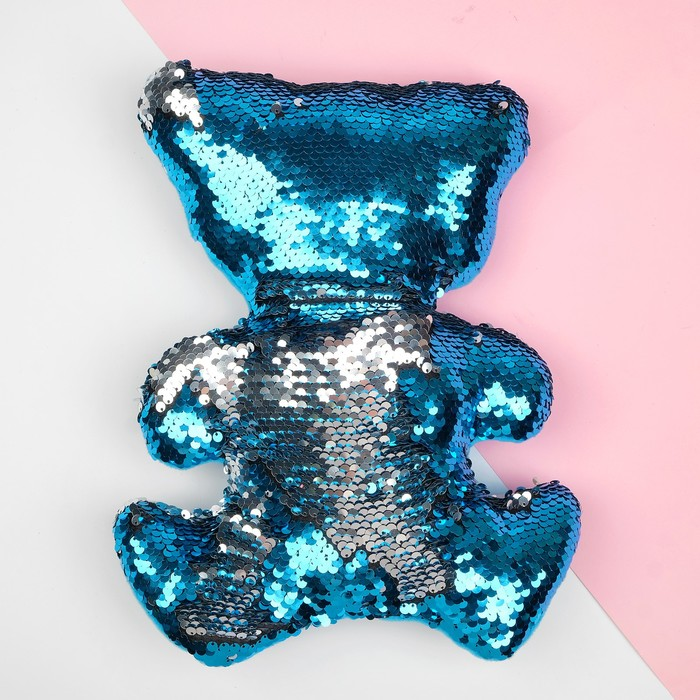 Мягкая игрушка Медведь, пайетки, цвет серебряно-голубой