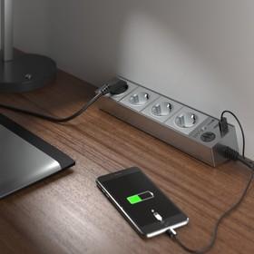 Розеточный блок 4-х местный + 3 USB WL20-04-03, цвет серебро