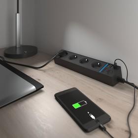 Розеточный блок 4-х местный + 3 USB WL20-04-03, цвет чёрный