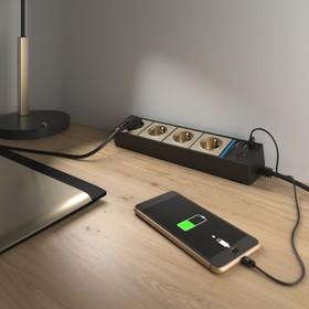 Розеточный блок 4-х местный + 3 USB WL20-04-03, цвет чёрный, шампань