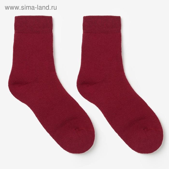 Носки детские махровые, цвет вишневый, размер 20-22