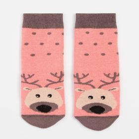 Носки детские махровые, цвет персиковый, размер 14-16