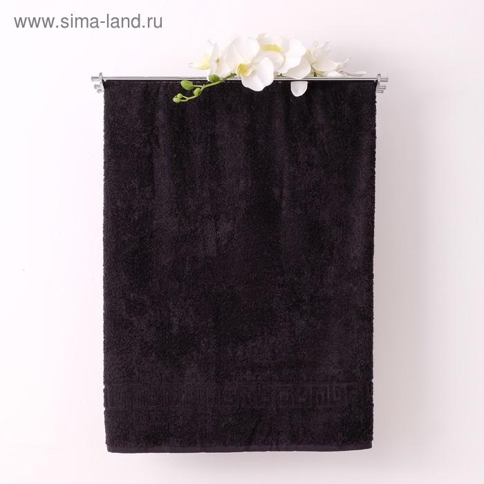 Полотенце махровое однотонное Антей 40х70 см, черный, 100% хлопок, 430 гр/м2