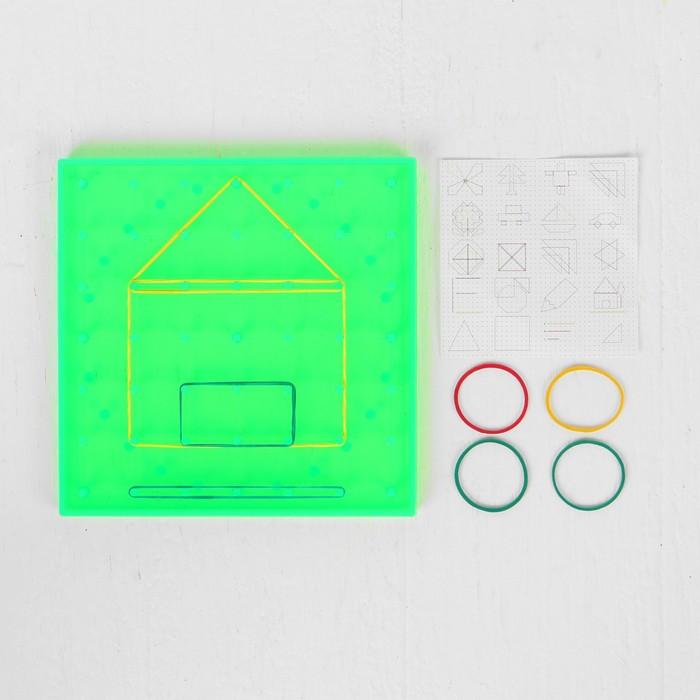 Геоборд, 14.5  14.5 см, цвет зелёный, в комплекте резиночки 4 шт..