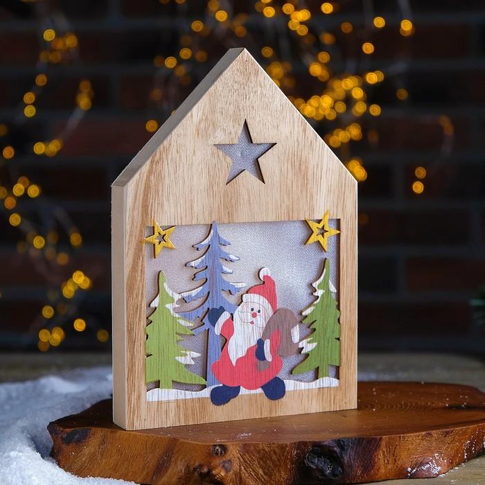 Декор с подсветкой «Дед Мороз с подарками» 2,2×15,5×22 см