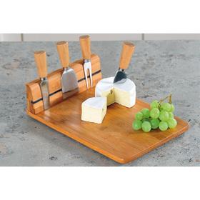 Набор для резки сыра Kesper, 4 прибора, доска бамбук