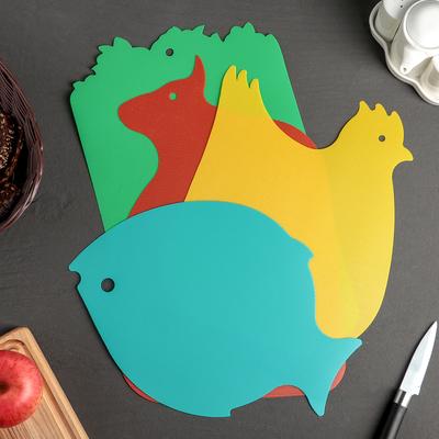 Набор досок разделочных противоскользящих Доляна, 40,5×25 см, 4 шт, цвет МИКС